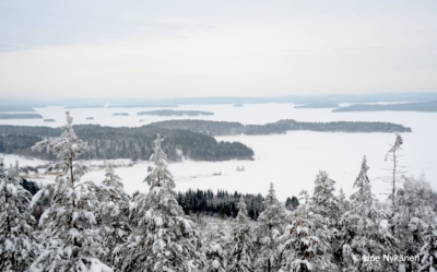 Talvinen maisema Päijänteelle Oravivuoren tornin huipulta.