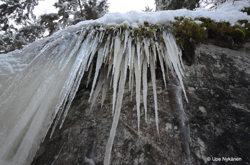 Jääpuikkoja Synninlukon kallioilla