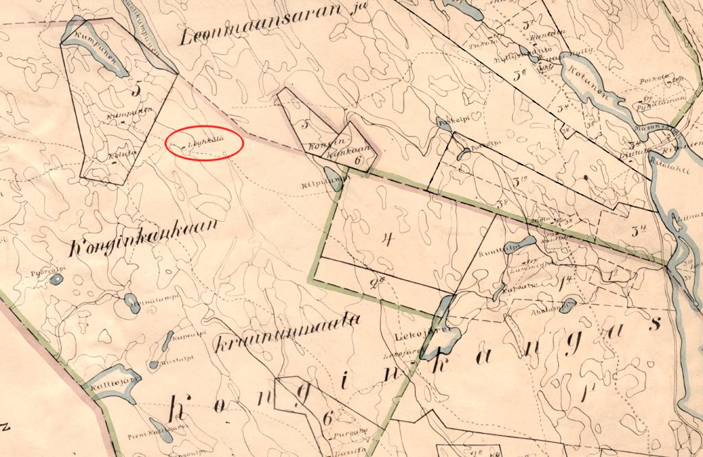 Löyhkälän tilan, myöh. Koiviston tilan paikka kartalla. Konginkankaan kirkonkylä on suurin piirtein tilalta kaakkoon noin 7 kilometrin päässä.
