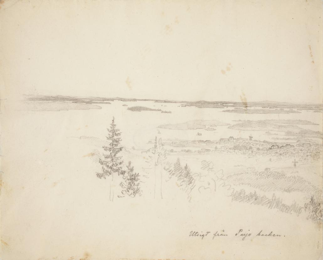 Maisemakuva Puijolta vuonna 1855. Etualalla nuoria kuusia, taustalla Kuopion kaupunki ja Kallavesi saaristoineen.