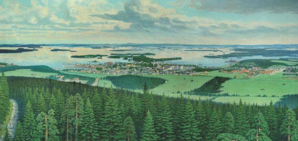 Etualalla kuusivoittoista havumetsää, taustalla peltoja ja Kuopion kaupunki, Kallavesi saaristoineen. Vasemmassa laidassa Puijon tie.