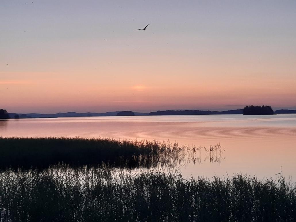 Auringonlaskun jälkeen Puutossalmen lossilta kuvattu näkymä kohti Kuopiosta. Puijon torni näkyy kaukana.
